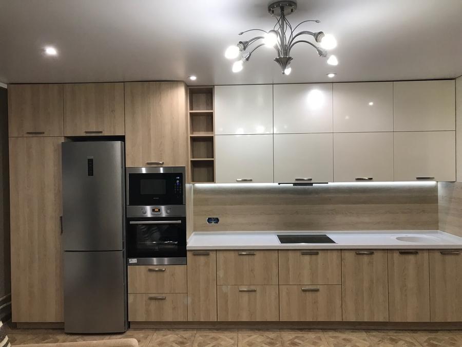 Белый кухонный гарнитур-Кухня МДФ в ПВХ «Модель 67»-фото2