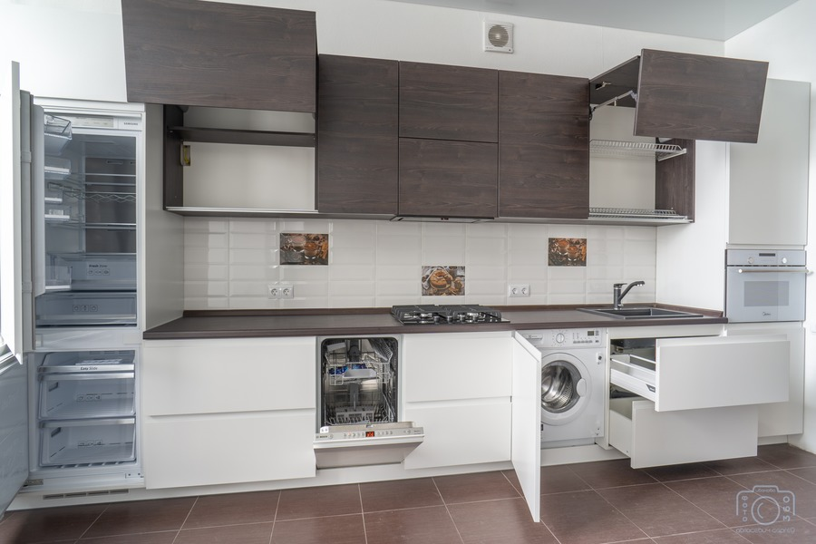 Белый кухонный гарнитур-Кухня МДФ в эмали «Модель 6»-фото6