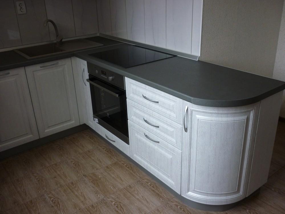 Белый кухонный гарнитур-Кухня МДФ в ПВХ «Модель 249»-фото3