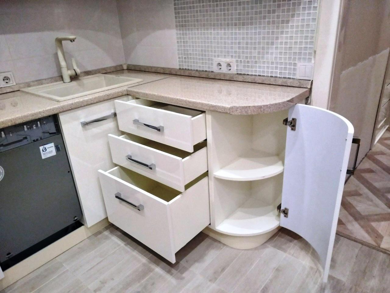 Белый кухонный гарнитур-Кухня МДФ в ПВХ «Модель 532»-фото6