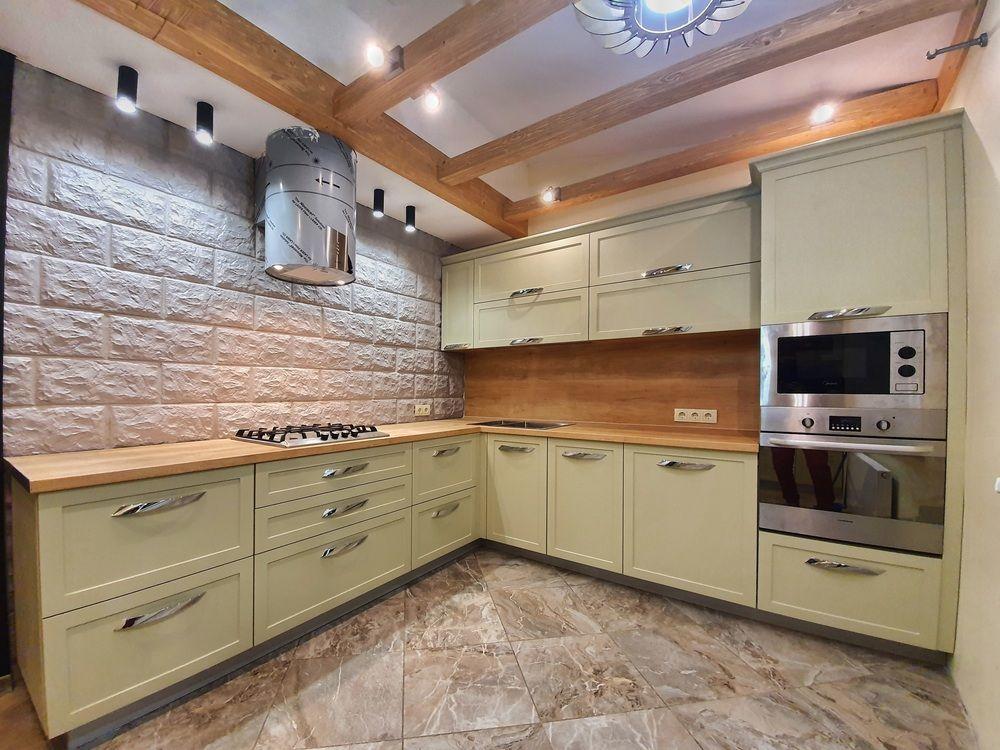 Бежевые кухни-Кухня МДФ в эмали «Модель 519»-фото2