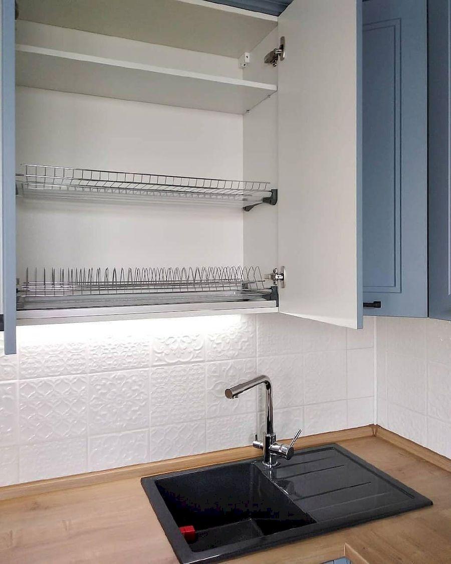 Высокие кухни под потолок-Кухня МДФ в эмали «Модель 640»-фото7