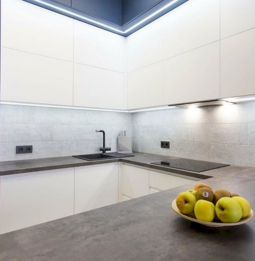Белый кухонный гарнитур-Кухня МДФ в эмали «Модель 678»-фото6